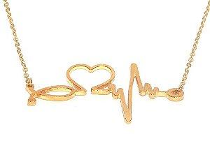 Colar Enfermagem Batimentos Do Coração Folheado A Ouro 18k