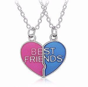 Colar Melhores Amigas Best Friends Amizade Folheado Resinado