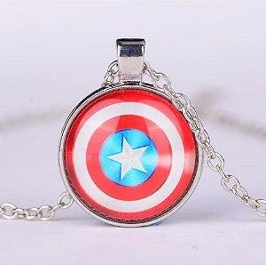 Colar Capitao America Escudo Vingadores Folheado A Prata X