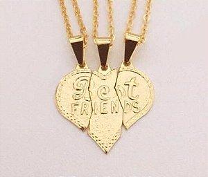 Colar Amizade Best Friends 3 Amigas Folheado A Ouro 18k