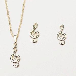 Conjunto Colar E Brinco Nota Musical Musica Folheado Ouro