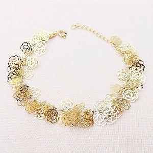 Pulseira Flores Super Delicada Folheado A Ouro 18k