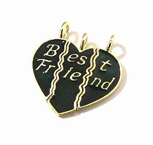 Kit 3 Pingente Amizade Best Friends Melhores Amigas Folheado