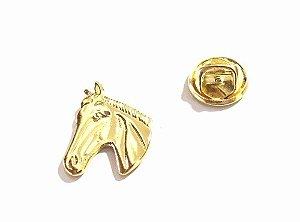 Pin Botton Broche Rosto Do Cavalo Country Folheado Ouro 18k