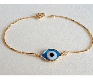 Kit 10 Pulseiras Olho Grego Azul Claro Folheado A Ouro 18k