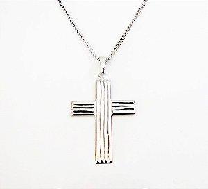 Colar Cruz Crucifixo Aço Inox De 50cm