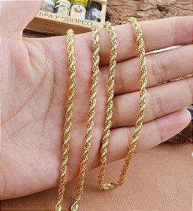 Cordão Baiano Unissex Folheado A Ouro