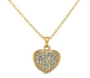 Colar Coração Strass Lembrancinha Madrinha Folheado A Ouro