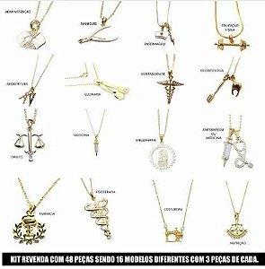 Kit Revenda 30 Colares Profissões Diversas Folheada Ouro 18k