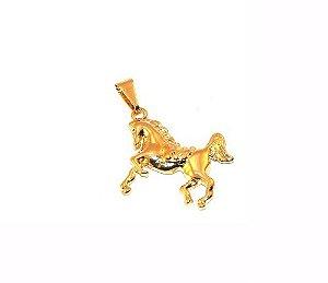 Pingente Cavalo Cavalgando Country Folheado A Ouro 18k