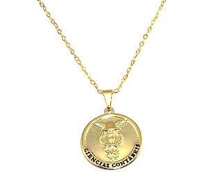 Colar Cordão Medalha Contabilidade Folheado Ouro 18k