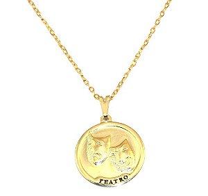 Colar Medalha Teatro Artes Ator Folheado Ouro 18k