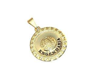 Pingente Medalha Engenharia Engenheiro Folheado Ouro 18k
