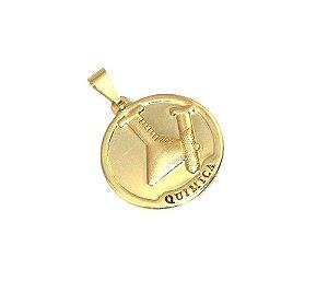 Pingente Medalha Profissão Quimica Quimico Folheado Ouro 18k
