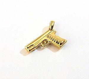 2 Pingentes De Arma E Pistola Folheado A Ouro