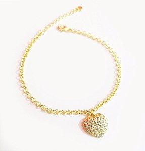10 Pulseiras Coração Grande Cristal Folheada A Ouro 18k.
