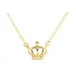 Colar E Pingente Coroa Princesa Folheada A Ouro 18k.