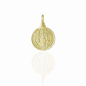 Pingente Católico Medalha De São Bento Folheado A Ouro 18k