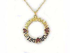 Colar Mandala Abençoada Por Deus Folheada A Ouro