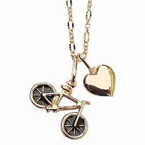 Gargantilha Bicicleta Folheada A Ouro 18k.
