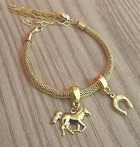 Pulseira Berloques Country Cavalo Ferradura Folheado Ouro