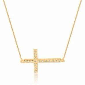 Colar E Pingente Cruz Crucifixo Folheado A Ouro 18k.