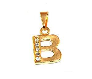 Pingente Inicial Nome Letra B Folheado  Ouro 18k Aprox 1,5cm
