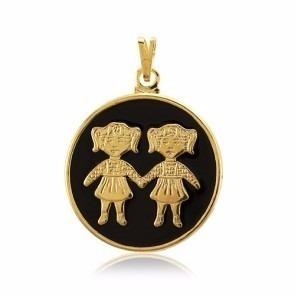 Pingente Duas Meninas Crianças Folheado A Ouro 18k. Lindo!