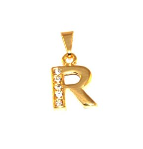 Pingente Inicial Nome Letra R Folheado  Ouro 18k Aprox 1,5cm