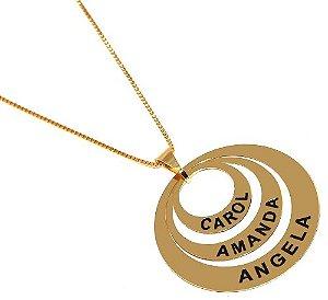 Colar Mandala 3 Elos Com Nomes Personalizados Folheado Ouro