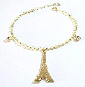 Pulseira Torre Eiffel Turismo Viagem Folheada A Ouro 18k