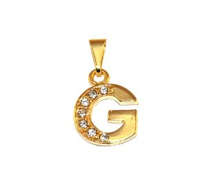 Pingente Inicial Nome Letra G Folheado  Ouro 18k Aprox 1,5cm