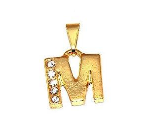 Pingente Inicial Nome Letra M Folheado  Ouro 18k Aprox 1,5cm