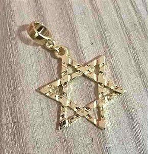 Berloque Pingente Estrela De Davi Com Detalhe Folheado Ouro