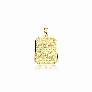 Pingente Medalha Oração Pai Nosso Folheado A Ouro 18k.