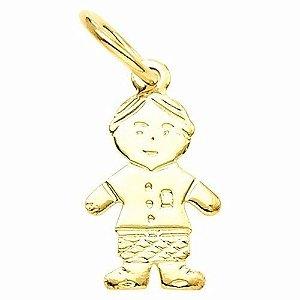Pingente Super Lindo Criança Menino Folheado Ouro