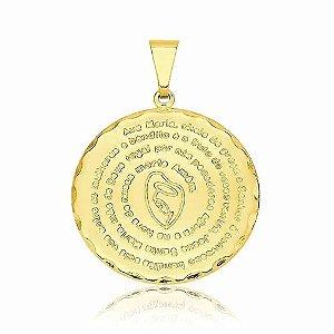 50 Pingente Medalha Oração Ave Maria Folheada A Ouro 18k.