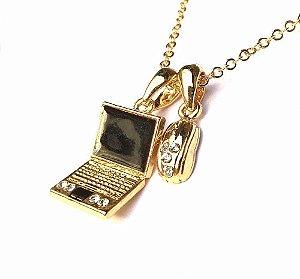 Colar E Pingente Informatica Notebook Mouse Folheado Ouro