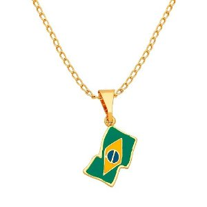 Gargantilha Colar Bandeira Brasil Copa Folheada A Ouro 18k.