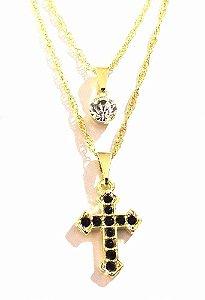 Colar Duplo Cruz Crucifixo Religioso Folheado A Ouro 18k