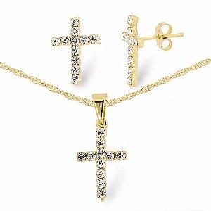 Conjunto Colar E Brinco Cruz Crucifixo Folheado Ouro 18k