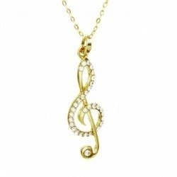Colar E Pingente Musica Nota Musical Cifrão Folheado A Ouro