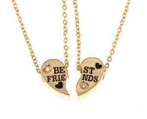 Colar Pingente Amizade Best Friends Folheado Ouro - Novo