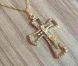 Gargantilha Colar Cruz Crucifixo Strass Folheada A Ouro 18k.