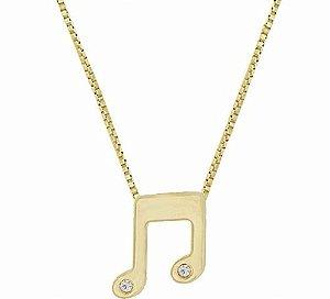 Colar E Pingente Nota Musical Musica Folheado A Ouro 18k.