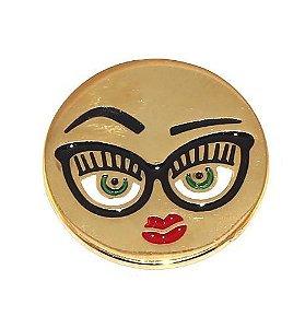 Kit Revenda 10 Pin Botton Broche Emoticons Beijo Oculos