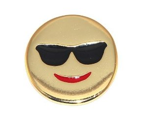 Pin Botton Broche Emoticons Feliz Oculos Folheado Ouro