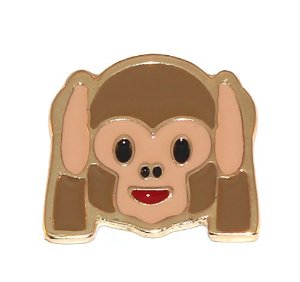 Pin Botton Broche Emoticons Macaco Surdo Folheado Ouro