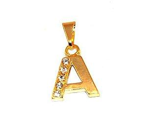 Pingente Inicial Nome Letra A Folheado Ouro 18k Aprox 1,5cm
