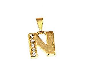 Pingente Inicial Nome Letra N Folheado  Ouro 18k Aprox 1,5cm